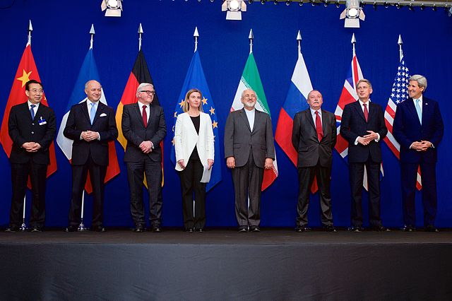 """Negotiations about Iranian Nuclear Program - the Ministers of Foreign Affairs and Other Officials of the P5+1 and Ministers of Foreign Affairs of Iran and EU in Lausanne"" by United States Department of State - https://www.flickr.com/photos/statephotos/16389773974. Licensed under Public Domain via Wikimedia Commons - https://commons.wikimedia.org/wiki/File:Negotiations_about_Iranian_Nuclear_Program_-_the_Ministers_of_Foreign_Affairs_and_Other_Officials_of_the_P5%2B1_and_Ministers_of_Foreign_Affairs_of_Iran_and_EU_in_Lausanne.jpg#/media/File:Negotiations_about_Iranian_Nuclear_Program_-_the_Ministers_of_Foreign_Affairs_and_Other_Officials_of_the_P5%2B1_and_Ministers_of_Foreign_Affairs_of_Iran_and_EU_in_Lausanne.jpg"